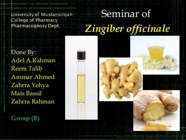 Done By:Adel A.RahmanReem TalibAmmar AhmedZahrra YehyaMais BassilZahrra RahmanGroup (B)Group (B)Seminar ofZingiber officin...