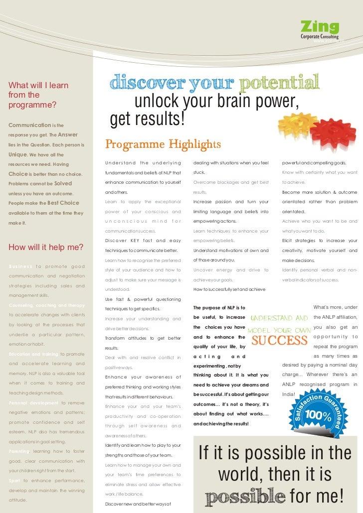 Zing NLP Practitioner brochure Slide 3