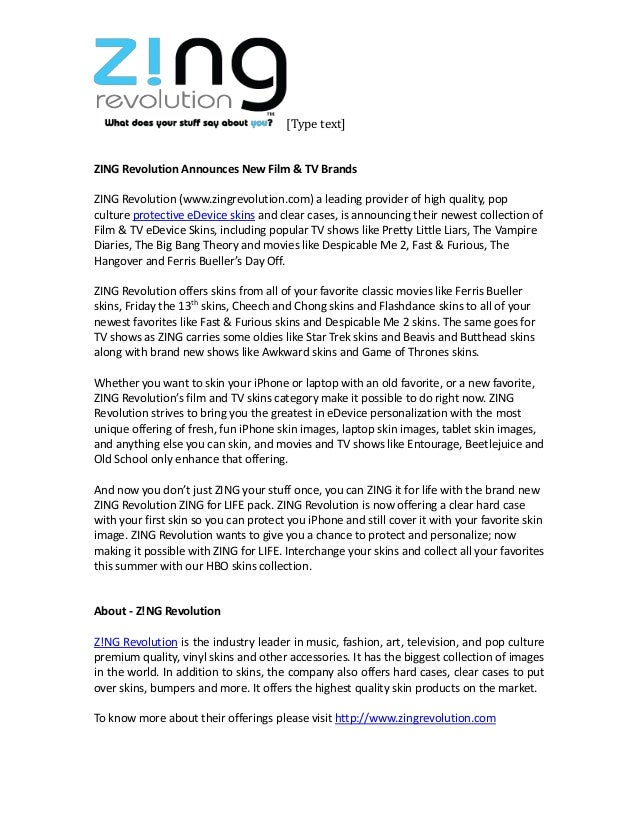 [Type text] ZING Revolution Announces New Film & TV Brands ZING Revolution (www.zingrevolution.com) a leading provider of ...