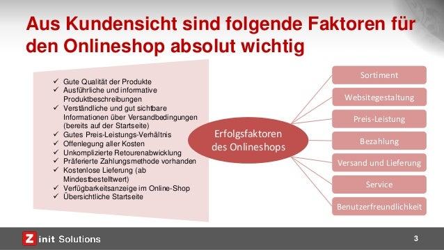 Aus Kundensicht sind folgende Faktoren für den Onlineshop absolut wichtig 3  Gute Qualität der Produkte  Ausführliche un...