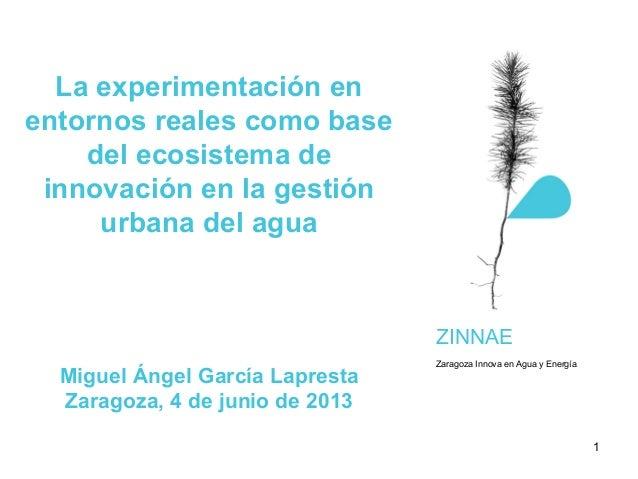 La experimentación enentornos reales como basedel ecosistema deinnovación en la gestiónurbana del aguaMiguel Ángel García ...