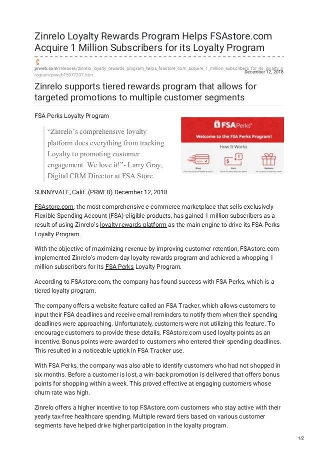 Loyalty Rewards Program >> Zinrelo Loyalty Rewards Program Helps Fs Astorecom Acquire 1