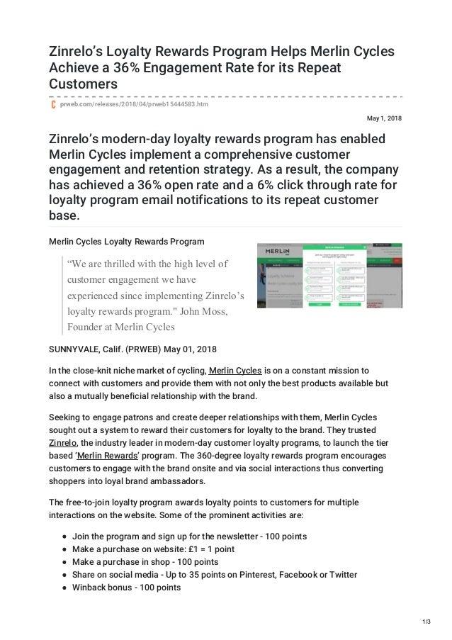 Loyalty Rewards Program >> Zinrelos Loyalty Rewards Program Helps Merlin Cycles Achieve