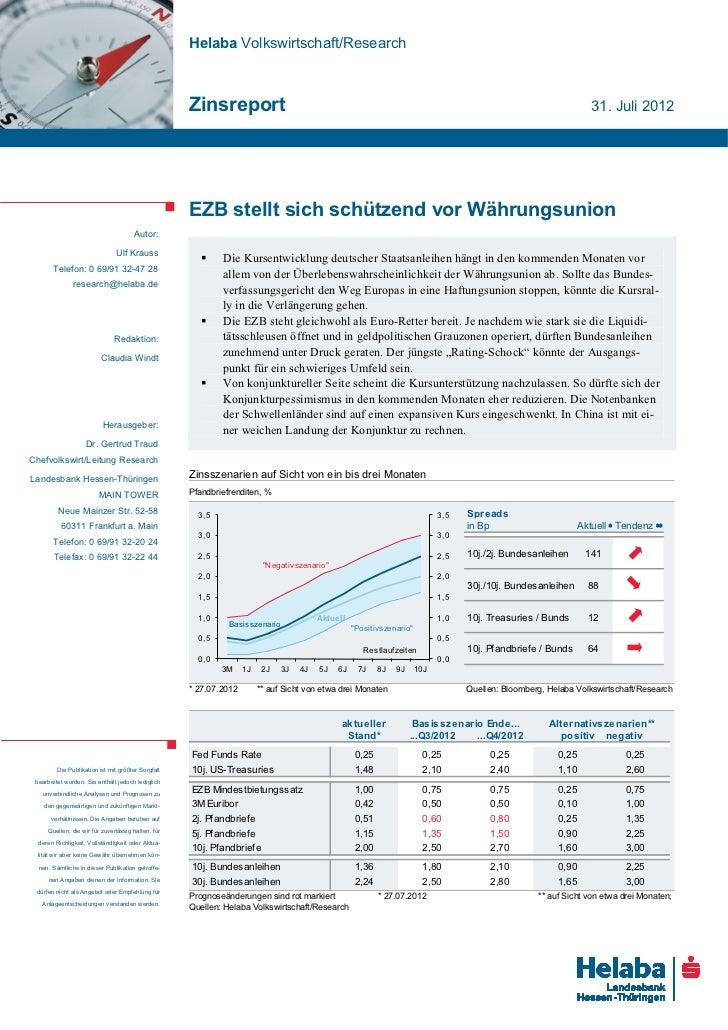 Helaba Volkswirtschaft/Research                                                    Zinsreport                             ...