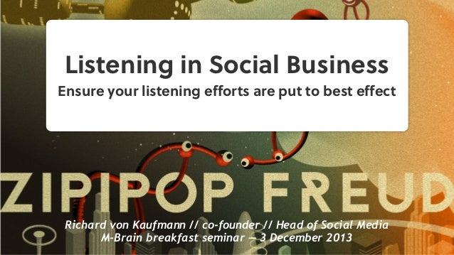 Listening in Social Business Ensure your listening efforts are put to best effect  Richard von Kaufmann // co-founder // Hea...