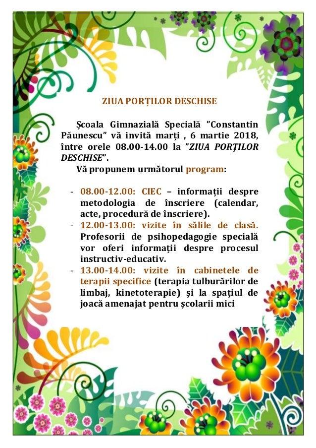 """ZIUA PORȚILOR DESCHISE Școala Gimnazială Specială """"Constantin Păunescu"""" vă invită marți , 6 martie 2018, între orele 08.00..."""