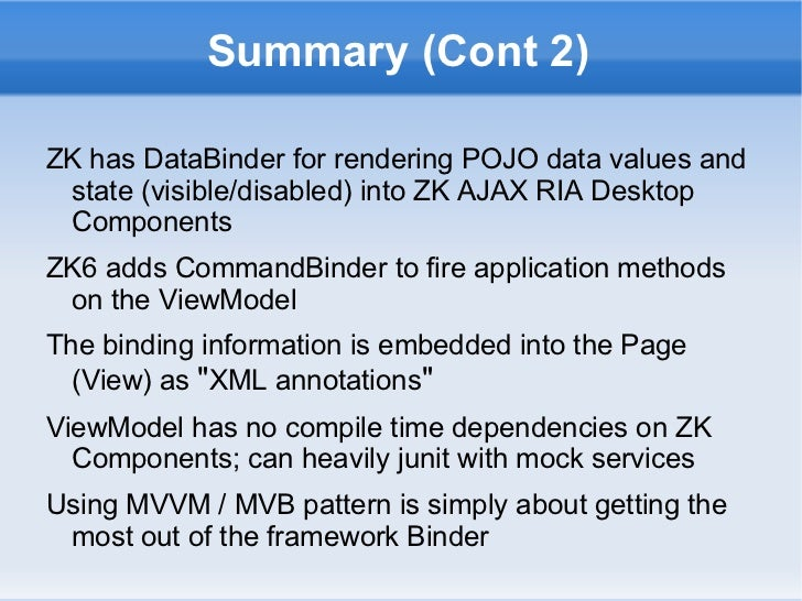 design patterns in zk java mvvm as model view binder