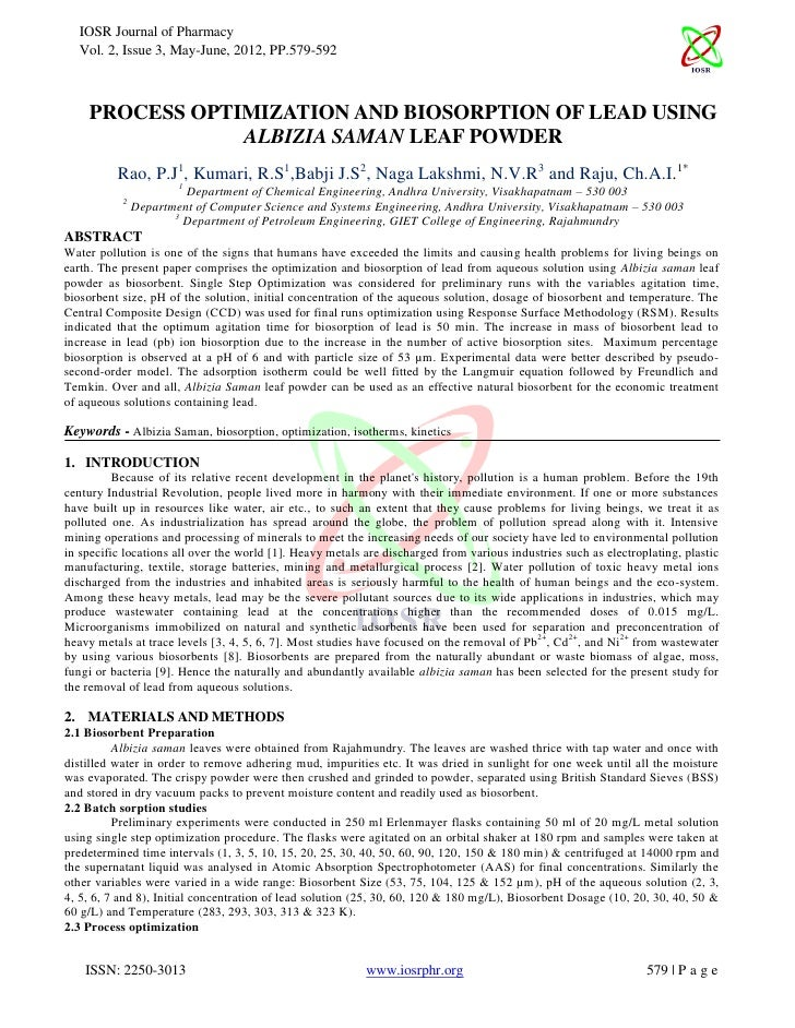 IOSR Journal of Pharmacy  Vol. 2, Issue 3, May-June, 2012, PP.579-592    PROCESS OPTIMIZATION AND BIOSORPTION OF LEAD USIN...