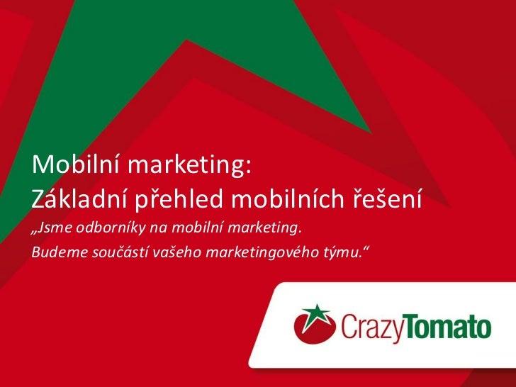 """Mobilní marketing:Základní přehled mobilních řešení""""Jsme odborníky na mobilní marketing.Budeme součástí vašeho marketingov..."""