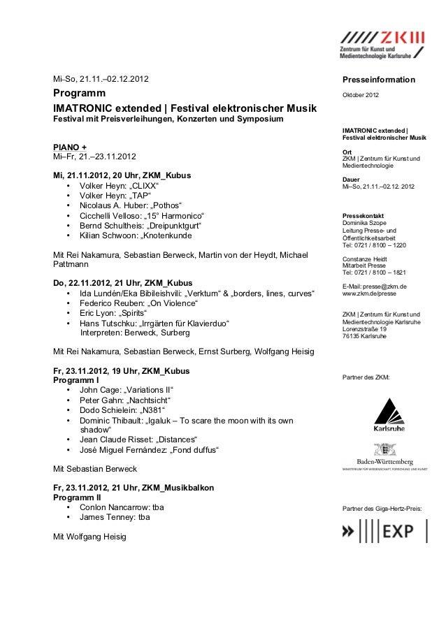 Mi–So, 21.11.–02.12.2012                                                  PresseinformationProgramm                       ...