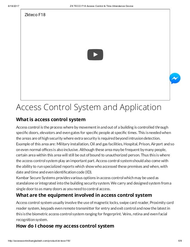 Zk teco f18 access control & time attendance device Bangladesh