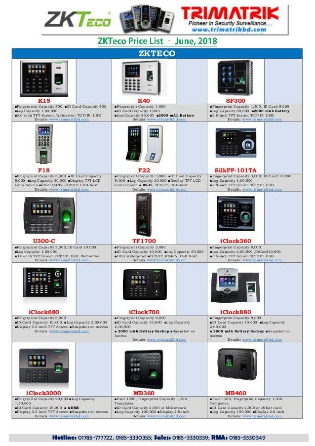 Zkteco Bangladesh, ZKTeco Price List