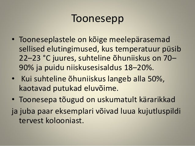 Toonesepp • Tooneseplastele on kõige meelepärasemad sellised elutingimused, kus temperatuur püsib 22–23 °C juures, suhteli...