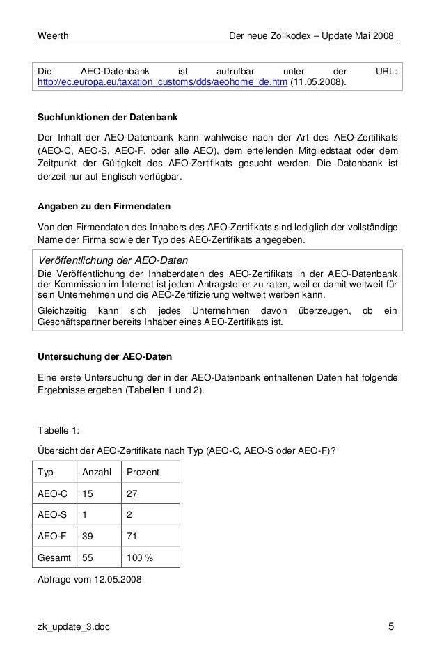 Weerth Der neue Zollkodex – Update Mai 2008 zk_update_3.doc 5 Die AEO-Datenbank ist aufrufbar unter der URL: http://ec.eur...