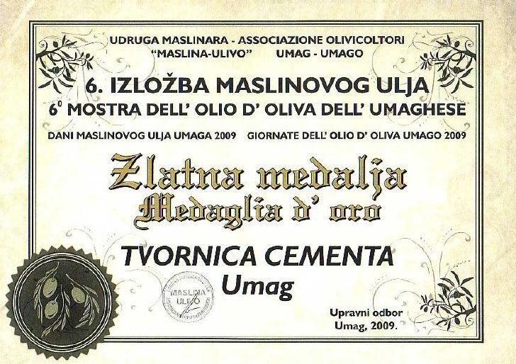 Zlatna medalja za maslinovo ulje - 2009