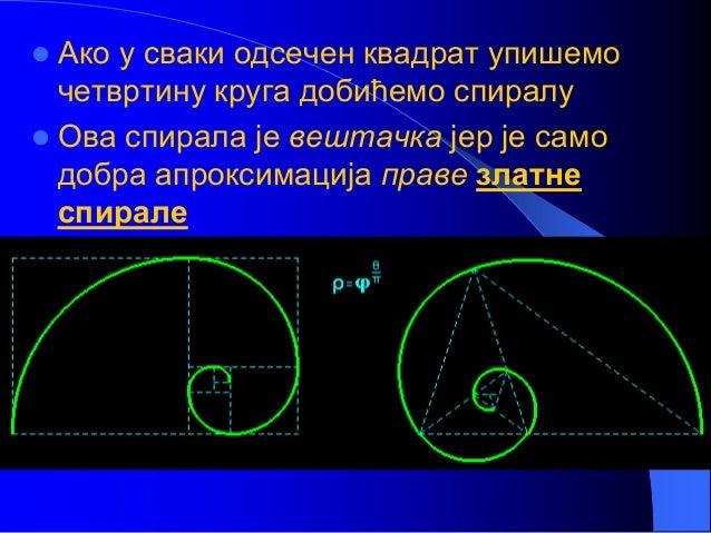  Ако у сваки одсечен квадрат упишемо четвртину круга добићемо спиралу  Ова спирала је вештачка јер је само добра апрокси...