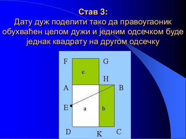 Став 3: Дату дуж поделити тако да правоугаоник обухваћен целом дужи и једним одсечком буде једнак квадрату на другом одсеч...
