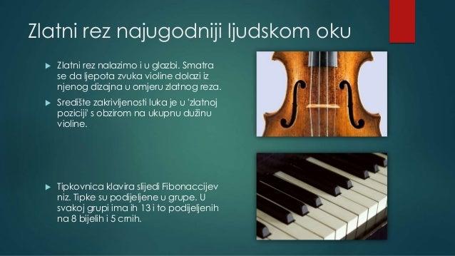Zlatni rez najugodniji ljudskom oku  Zlatni rez nalazimo i u glazbi. Smatra se da ljepota zvuka violine dolazi iz njenog ...