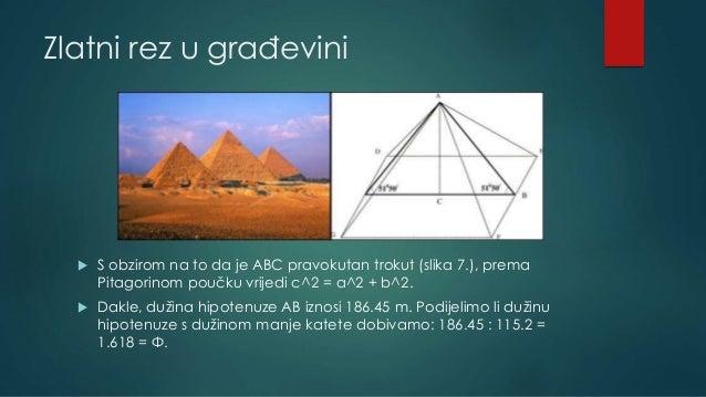 Zlatni rez u građevini  S obzirom na to da je ABC pravokutan trokut (slika 7.), prema Pitagorinom poučku vrijedi c^2 = a^...