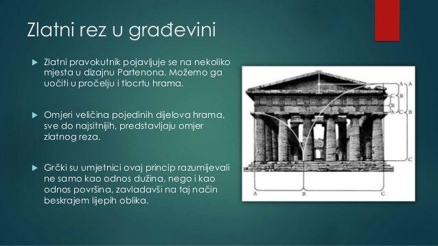 Zlatni rez u građevini  Zlatni pravokutnik pojavljuje se na nekoliko mjesta u dizajnu Partenona. Možemo ga uočiti u proče...