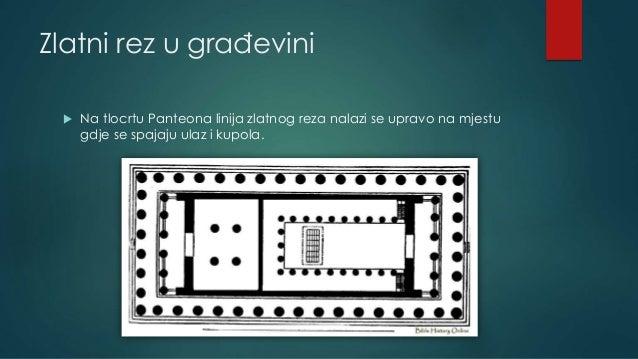 Zlatni rez u građevini  Na tlocrtu Panteona linija zlatnog reza nalazi se upravo na mjestu gdje se spajaju ulaz i kupola.