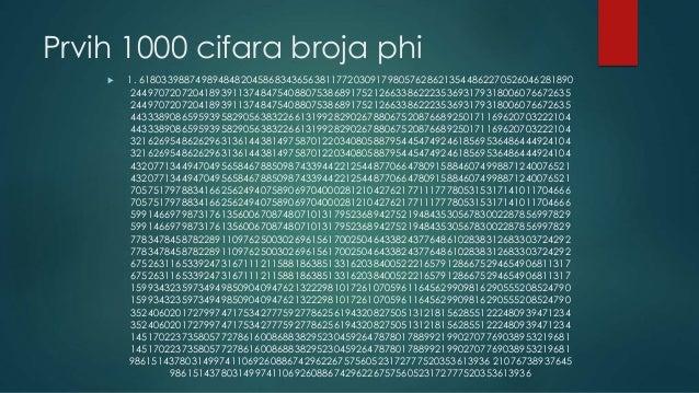 Prvih 1000 cifara broja phi  1. 61803398874989484820458683436563811772030917980576286213544862270526046281890 24497072072...