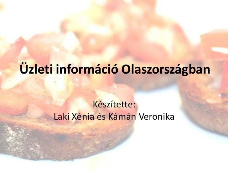 Üzleti információ Olaszországban<br />Készítette:Laki Xénia és Kámán Veronika<br />