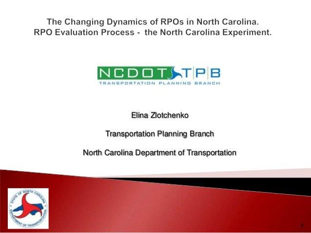 1Elina ZlotchenkoTransportation Planning BranchNorth Carolina Department of Transportation