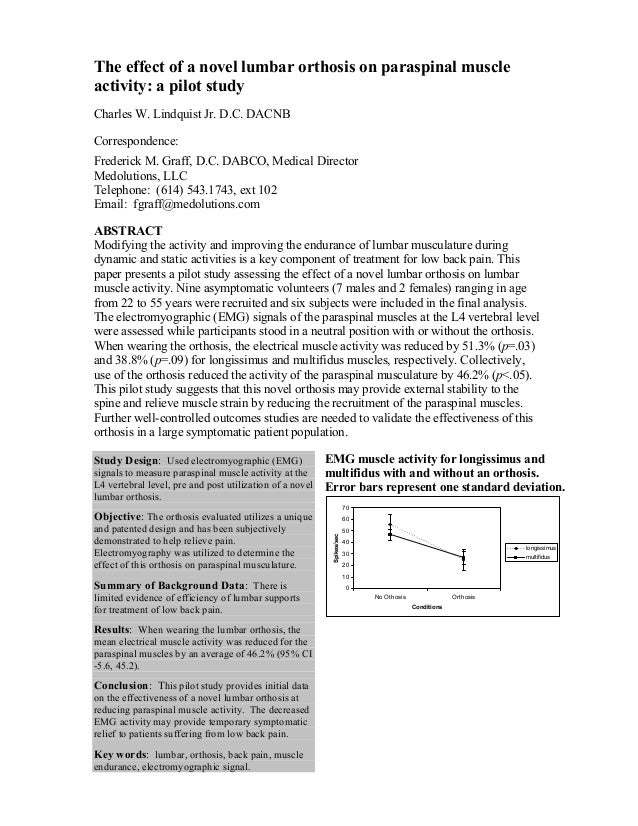 The effect of a novel lumbar orthosis on paraspinal muscle activity: a pilot study Charles W. Lindquist Jr. D.C. DACNB Cor...