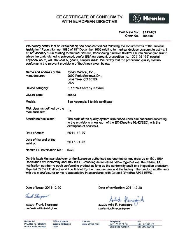 CE CERTIFICATE OF CONFORMITY WITH EUROPEAN DIRECTIVE  ®  Certificate No.: Order No.:  Nemko 1112409 194498  We hereby cert...