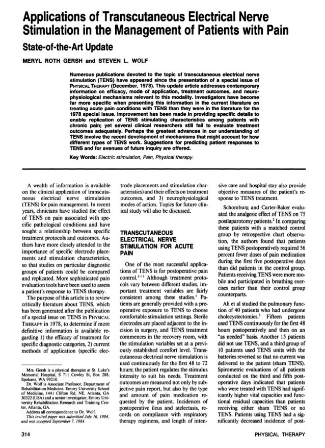 Applications of Transcutaneous Electrical Nerve Stimulation in the Management of Patients with Pain State-of-the-Art Updat...