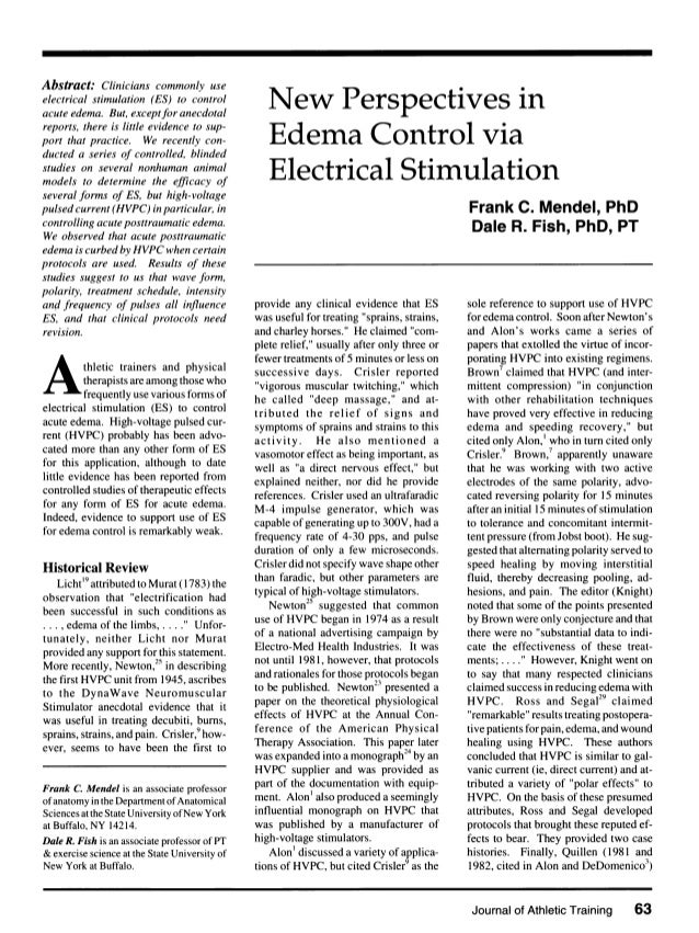 Abstract: Clinicians commonly use electrical stimulation (ES) to control acute edema. But, exceptfor anecdotal reports, th...