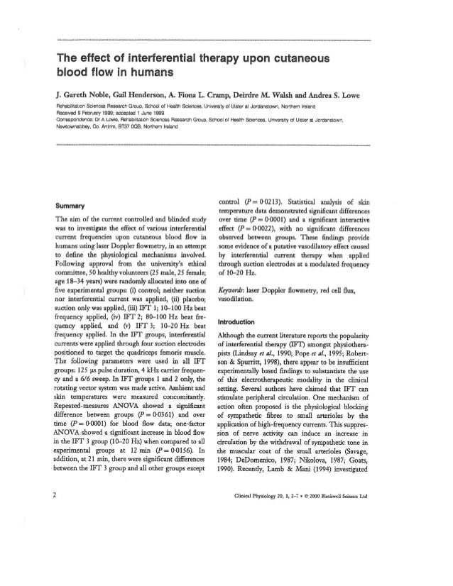 ZMPCZM016000.11.15 The effect of interferential Therapy upon cutaneous blood flow in humans