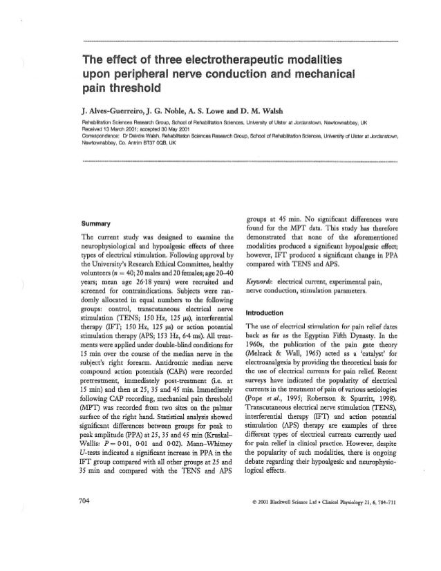 """ZMPCZM016000.11.16 """"The effect of three electrotheraupetic modalities upon peripheral nreve  conduction and mechanical pai..."""