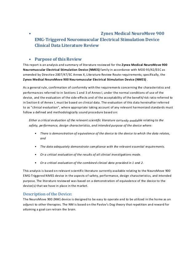 •  ZynexMedicalNeuroMove900 EMG‐TriggeredNeuromuscularElectricalStimulationDevice ClinicalDataLiteratureReview...