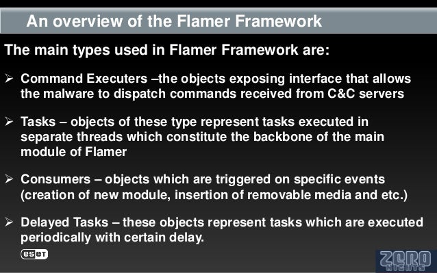 An overview of the Flamer FrameworkThe main types used in Flamer Framework are: Command Executers –the objects exposing i...