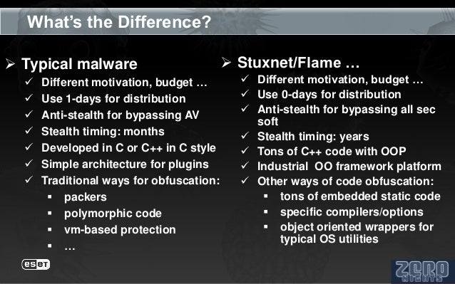 What's the Difference? Typical malware                          Stuxnet/Flame …     Different motivation, budget …     ...