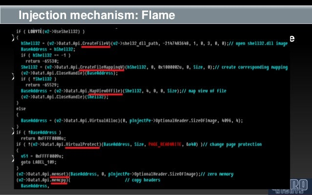 Injection mechanism: Flame The payload is injected into processes from user-mode  module The injection technique is base...