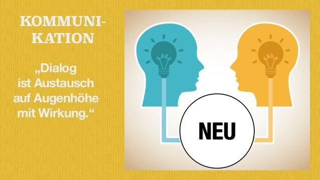 """KOMMUNI- KATION NEU """"Dialog  ist Austausch  auf Augenhöhe  mit Wirkung."""""""
