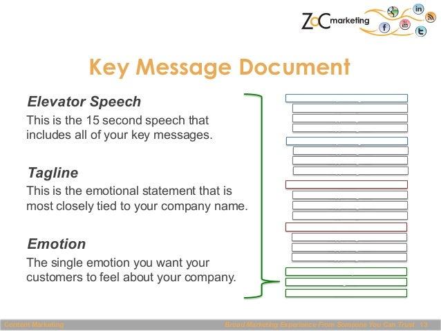 Key Message Document Elevator Speech  Key  Message   Suppor@ng  Fact   Suppor@ng  Fact   Suppor@ng  Fact  ...