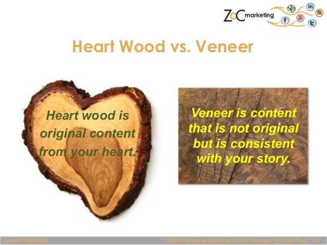 Heart Wood vs. Veneer  Heart wood is original content from your heart.  Content Marketing  Veneer is content that is not o...