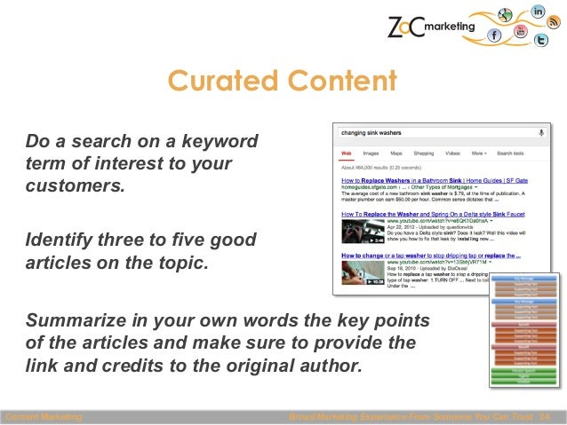 Curated Content Do a search on a keyword term of interest to your customers. Identify three to five good articles on the t...
