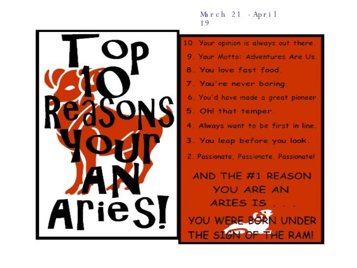 March 21 -April 19