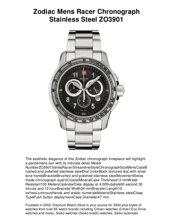 Zodiac Mens Racer Chronograph          Stainless Steel ZO3901     The aesthetic elegance of this Zodiac chronograph timepi...