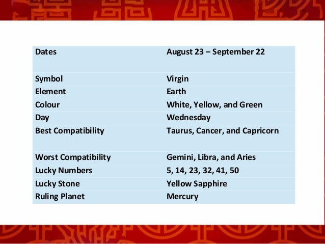 Zodiac sign of virgo