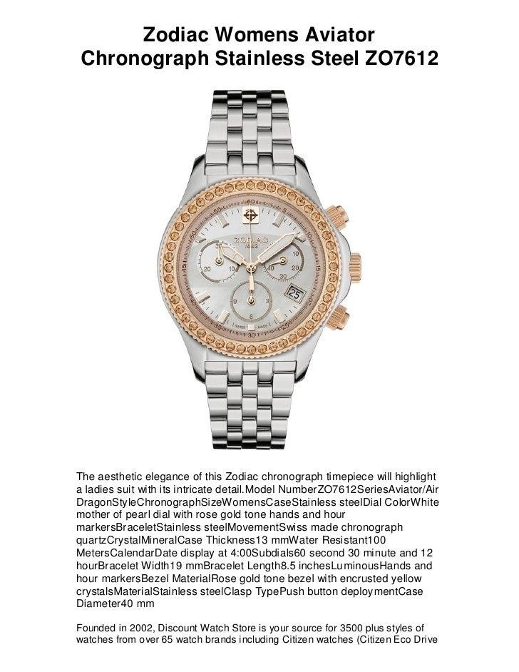 Zodiac Womens Aviator Chronograph Stainless Steel ZO7612     The aesthetic elegance of this Zodiac chronograph timepiece w...