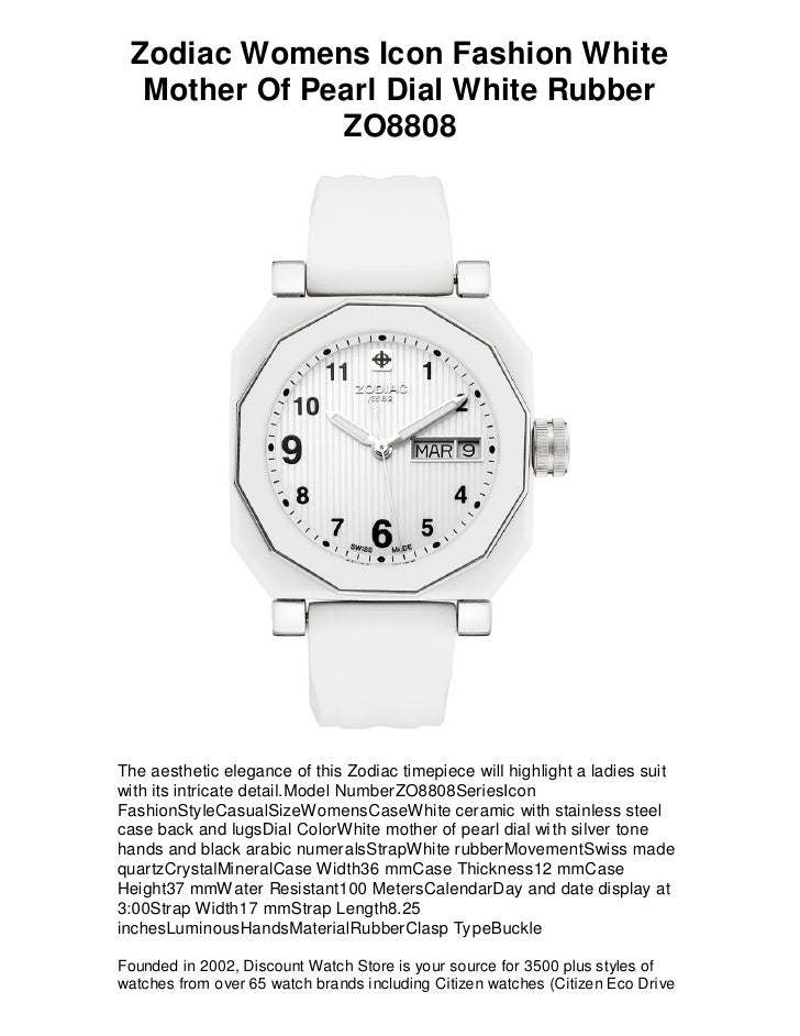 Zodiac Womens Icon Fashion White   Mother Of Pearl Dial White Rubber               ZO8808     The aesthetic elegance of th...