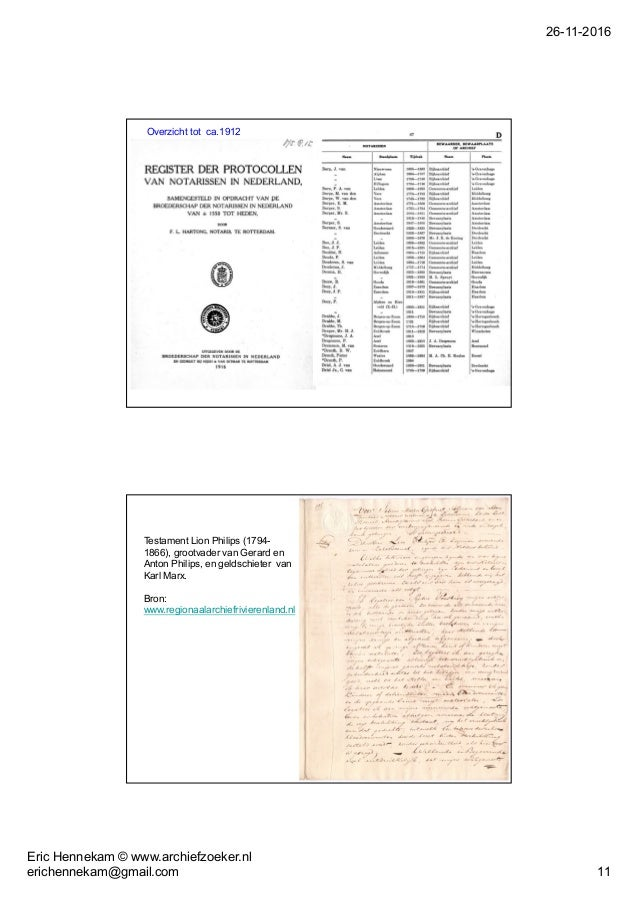 26-11-2016 Eric Hennekam © www.archiefzoeker.nl erichennekam@gmail.com 11 Overzicht tot ca.1912 Testament Lion Philips (17...