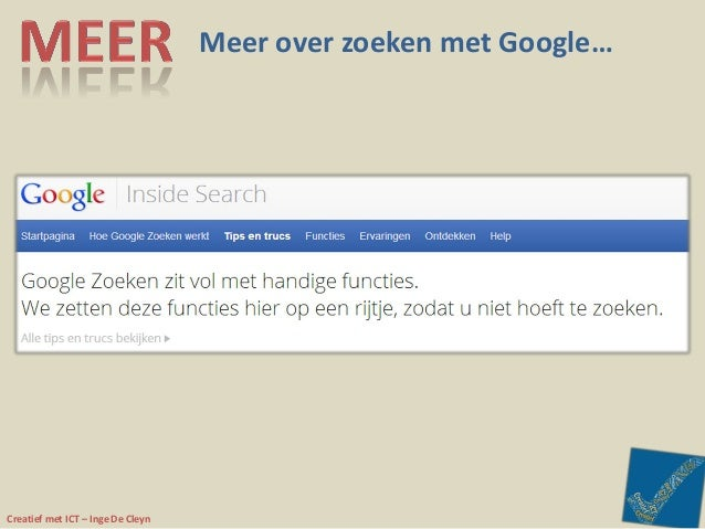 Creatief met ICT – Inge De Cleyn Meer over zoeken met Google…