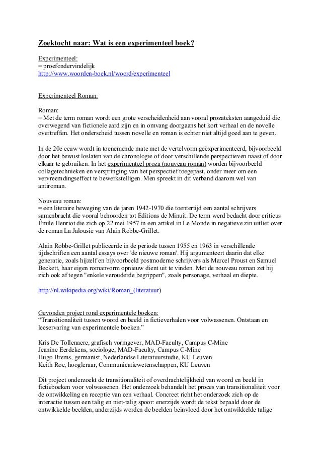 Zoektocht naar: Wat is een experimenteel boek?Experimenteel:= proefondervindelijkhttp://www.woorden-boek.nl/woord/experime...